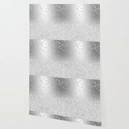 Modern silver glitter ombre metallic sparkles confetti Wallpaper