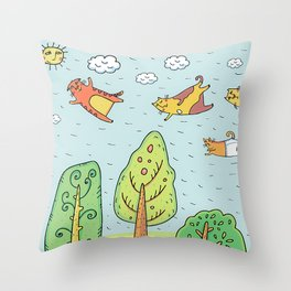 Cats in the Sky Throw Pillow