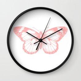 Vintage Pink Butterflly Illustration on Black Background Wall Clock