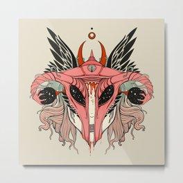 Shield Maiden Uterus & Ovary Helmet Metal Print
