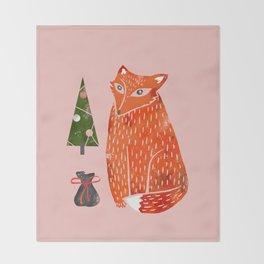 Christmas fox - illustration Throw Blanket