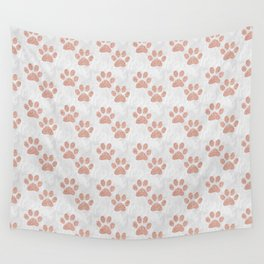 Rose Gold Paw Print Pattern Wall Tapestry
