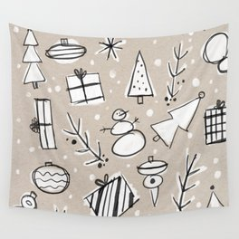 Christmas White and Kraft Sketches Wall Tapestry