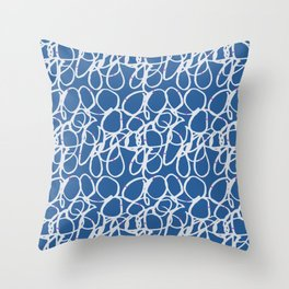 Hand painted abstract white pink pastel blue scribble Throw Pillow