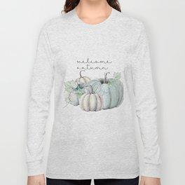 welcome autumn blue pumpkin Long Sleeve T-shirt
