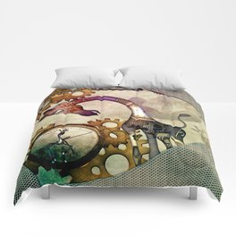 Funny giraffe, steampunk with clocks and gears Comforters