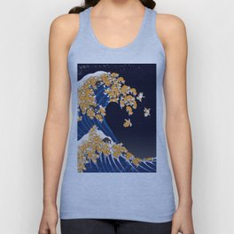 Shiba Inu The Great Wave in Night Unisex Tank Top