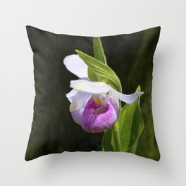 Showy Lady Slipper Orchid Throw Pillow