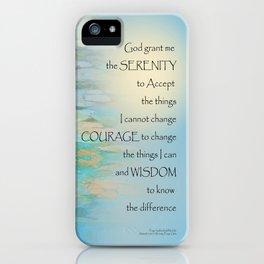 Serenity Prayer Koi Pond Blue Green iPhone Case