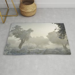 Snowy Olives. Magic sunrise Rug