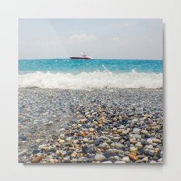 Beach View Motor Boat Floating on clear Turquoise Water, Summer Concept Metal Print