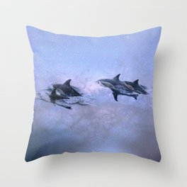 Surfing the Milky Way Throw Pillow