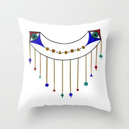 Blue Eye with Hanging Gold Geometric Shapes Throw Pillow