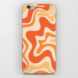 Tangerine Liquid Swirl Retro Abstract Pattern iPhone Skin