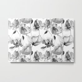 Black and White Watercolor Tulip and Poppy Floral Pattern Metal Print