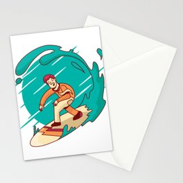 BUSINESS MAN SURFING ART DESIGN Stationery Cards