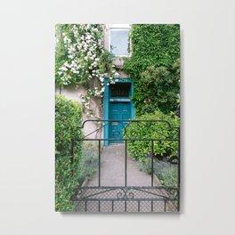 Edinburgh, Travel Photography, Pastel Streets, Blue Door, Garden Metal Print