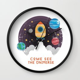 Space Aeronautics Rocket Science Planets Astronaut Stars Wall Clock