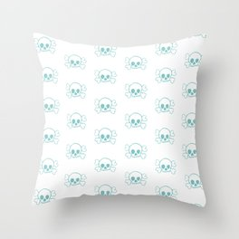 Aqua Skull and Crossbones Print and Pattern Throw Pillow