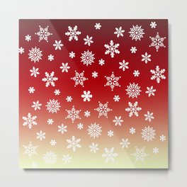 Snow Flurries-Red/Cream Ombre Metal Print