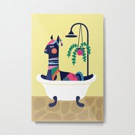 Llama in the tub Metal Print