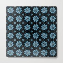 Geometric Floral Pattern - Turquoise Blue & Black Metal Print