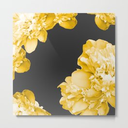 Yellow Flowers On A Dark Background #decor #society6 #buyart Metal Print