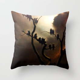 Vivid Retro - Ghosts in a Tree Throw Pillow