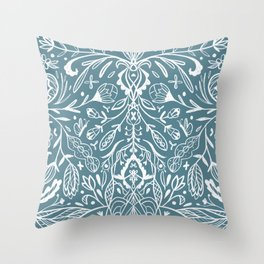 Bright blue print with modern folk art ornaments Throw Pillow
