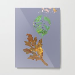 Fall Leaf Painting in blue gray brown green gold Metal Print