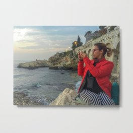 Woman taking a picture in a beach in the Rovinj city center Metal Print