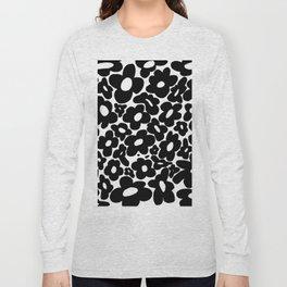 60s 70s Hippie Flowers Black Long Sleeve T-shirt