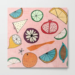 Pop Fruit Pink Metal Print