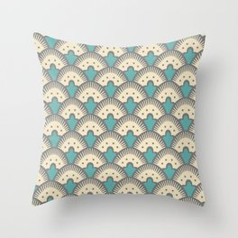 Fan Pattern Gray and Turquoise 991 Throw Pillow