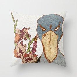 Shoebill with Flowers Throw Pillow
