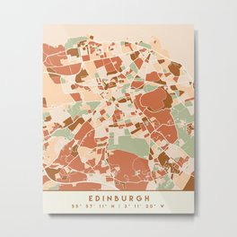 EDINBURGH SCOTLAND CITY MAP EARTH TONES Metal Print