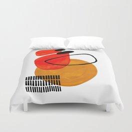 Mid Century Modern Abstract Vintage Pop Art Space Age Pattern Orange Yellow Black Orbit Accent Bettbezug