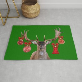 Reindeer Head Illustration - X-mas green Rug