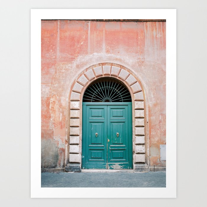 Turquoise Green door in Trastevere, Rome. Travel print Italy - film photography wall art colourful. Kunstdrucke