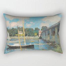 Claude Monet The Bridge at Argenteuil 1874 Painting Rectangular Pillow