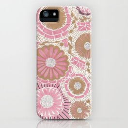 Pink & Gold Flowers iPhone Case