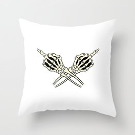 Fuck You Scary Scythe Creepy Spooky Skeleton Collection Design Halloween Trick Or Treat Death Grim Throw Pillow