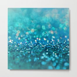 Teal turquoise blue shiny glitter print effect - Sparkle Luxury Backdrop Metal Print