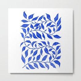 Bontanical Art Blue Leaf Metal Print