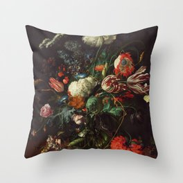 Jan Davidsz de Heem - Vase of Flowers Throw Pillow