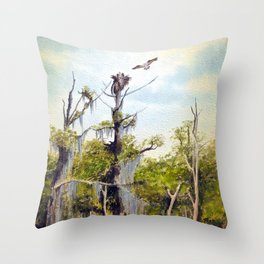 Nesting Ospreys In The Southern USA Throw Pillow