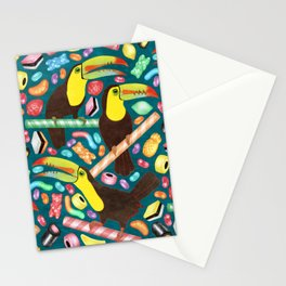 Toucandy - rainbow gummies, jelly beans and licorice surround tropical toucans on stripy candy canes Stationery Cards