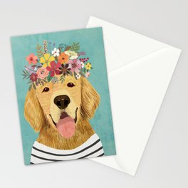Golden Retriever Dog with Floral Crown Art Print – Funny Decoration Gift – Cute Room Decor – Poster Stationery Cards