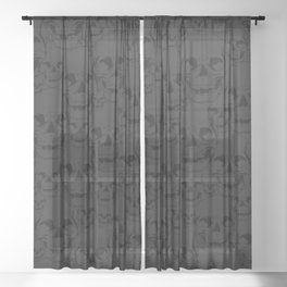 Dark Skulls Sheer Curtain