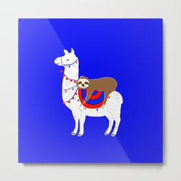 Llama & Sloth are Phriends Large Version Metal Print